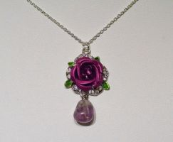 Purple rose with amethyst bead necklace by Dimolicious