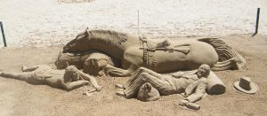 sand sculpture (horse and rider) by PhotographicJaydiee