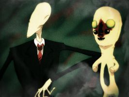 Slender Man visits SCP-173 by Die-Laughing