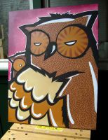 Owl Canvas by miZter-maZe