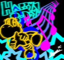 Neon Musical Birthday by Zyphxz
