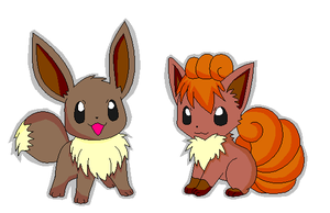 Eevee and Vulpix by KoushiKat13
