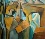 Landscape with bridge made after Picasso (1909) by Moenn