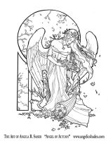 Angel of Autumn Line Art by AngelaSasser