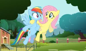 Rainbow Dash and Fluttershy 3d picture for 3Ds by cesargo