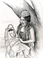 Native American mother and child by Caricature80