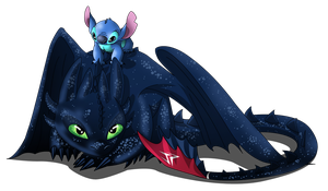 Toothless and Stitch by JonathanPiccini-JP
