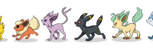The Eeveelution Lineup by FrogAndCog