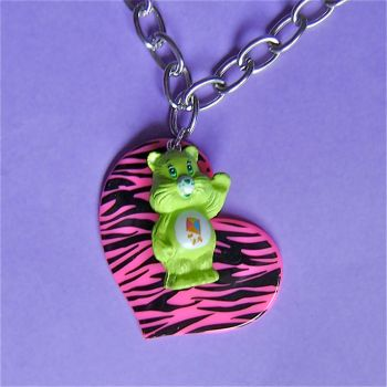 Care bear zebra heart necklace by Quirkz