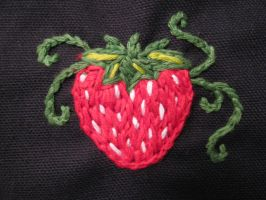 Embroidered Strawberry by TheCrimsonCrow