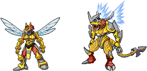 Guardianmon + ShieldOreymon Spirits of Security by jetwhiskey