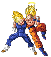 Goku VS Majin Vegeta by BardockSonic