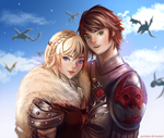 Hiccup and Astrid by pershun
