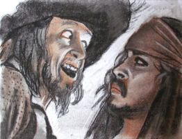 Barbossa and Jack in Charcoal by Swashbookler