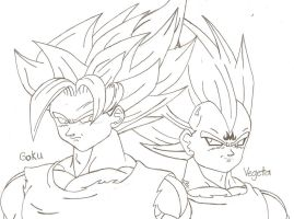 Goku and Vegeta by bluepelt