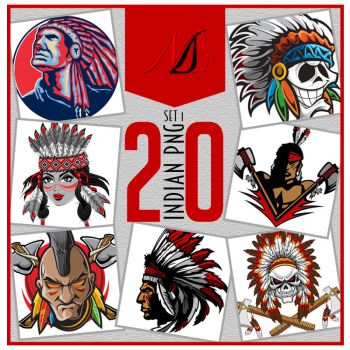 20 Native American Indian PNG SET by noema-13