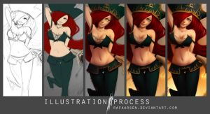 Miss Fortune FanArt, League of Legends, process by rafaarsen
