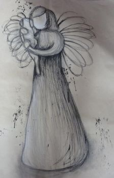 Inks and Charcoal Drawing by Pixie--Girl