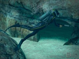 Vintage Diver at Cave by bakerfield3
