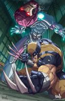 wolverine vs Sentinel color by Fpeniche