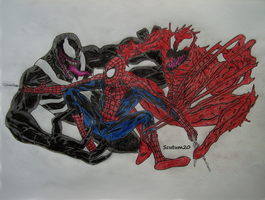 Spiderman vs. Venom and Carnage by Scutum20