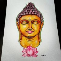 Buddha Head Illustration, Watercolours by saintvinod