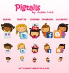 Pigtails Social Network Icons by jazgirl