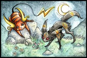 Raichu and Umbreon by IceandSnow