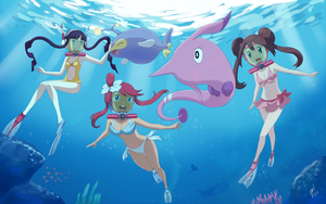 Commission: Scuba Pokegirls by QuantumJinx