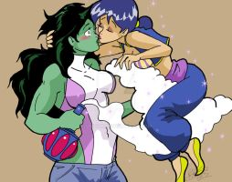 She-Hulk and Araceli by Shidyk
