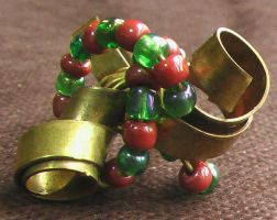 Spiral Yellow-Copper Ring w Plastic Colored Beads by Barah-Art