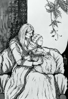 Elven family - a mother and a child by MirielVinya