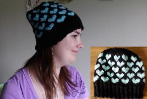 Black and Blue Heart Hat by Creativity-Squared
