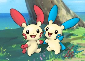 311-312 - Plusle and Minun by neoyurin