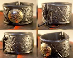 Witcher Bracelet leather + brass by TimforShade