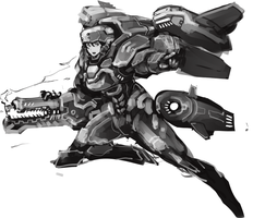 Jetpack with laser rifle by kimplate