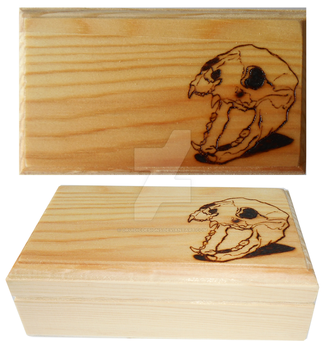 Wood Burned Panther Skull Box by DruidicDesigns