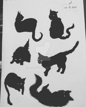 Silhouettes of cats. by Lyserath
