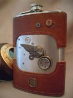 WingandCompass Steampunk Flask by Justenjoyinglife