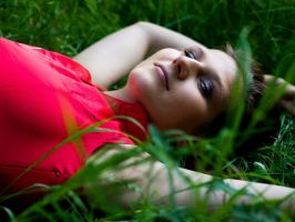 Woman in the grass by katerinarut