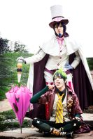 Amaimon and Mephisto Cosplay, in pose by Hadukoushi