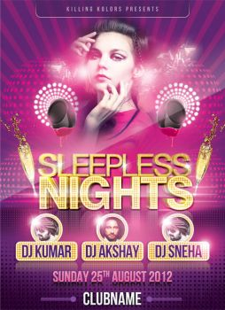 Sleepless Night Party Flyer by mantushetty