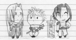Crisis Core Chibi Doodles by CazGirl