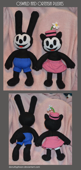 Oswald and Ortensia Plushes by DonutTyphoon