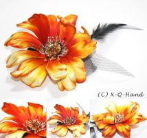 Fire Flower- Hand Embroidery by X-Q-Hand