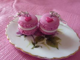 strawberry macarons earrings by PinkCakes
