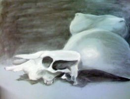 Cow Skull and Pregnant Woman by snosnke0321
