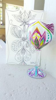 Wine glass and card by SharonIllumined