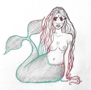 a mermaid sketch by neko-Carolina