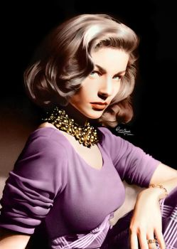Lauren Bacall by Liam J. York (COLORED) by MrYorkie